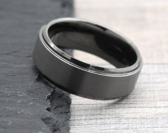 Dark Grey Wedding Band, Gunmetal Color Men's Wedding Band, Unique Gray Tungsten Wedding Band Mens, Mens Promise Ring, Anniversary Gift