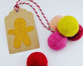 12 Gold glittery gingerbread man gift tags - Gift tags, Kraft tags, luggage tags