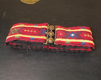 Vintage 1990's Emroiderd Belt With Brass Buckle