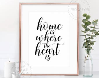 Home Is Where The Heart Is, PRINTABLE Wall Art, Love Quote, Home Decor Sign, Black Typography Calligraphy, Housewarming Gift, Digital Print
