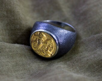 Men Silver Coin Ring, Ancient Coin Ring, Black Man Ring - Silver Men Ring-Silver Women Ring, Men Ring, Black Women Ring