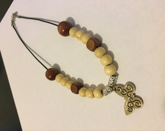 Butterfly wooden beaded pendant