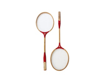 Vintage Red Painted Wooden Badminton Rackets Set of 2