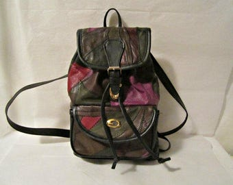 Leather Backpack, Patchwork Leather Backpack, Small Backpack