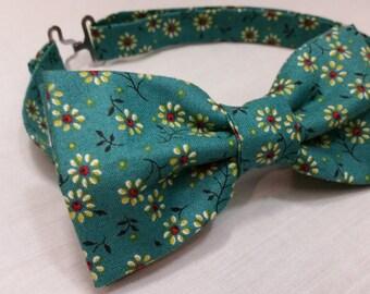 Men's Bowtie, Flower, Floral, Blue, Green, Pre-Tied Bow Tie
