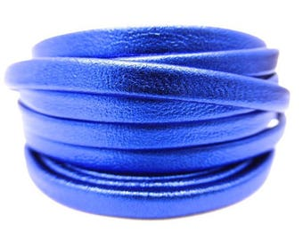 20 cm Blue double leather metallic soft 5 mm wide