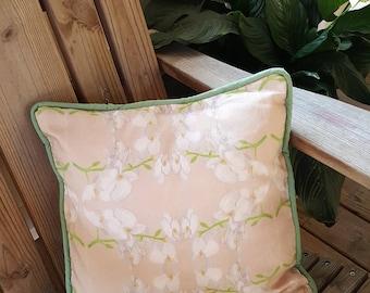 Handmade linen cotton canvas pillow cover - orchid pillow - flower pillow - outdoor pillow - decorative pillow - spring pillow
