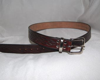 Leather belt, handmade hand tooled . 100% real leather