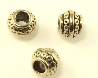 Antique Gold Tone, Lead Safe Pewter Bead - 24 pieces - 6.5 x 9mm (PWT230B) adorabellabeads