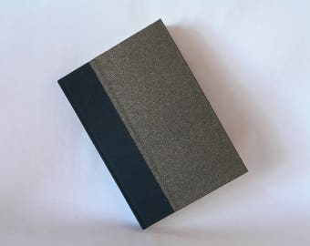 Lined blank book  journal - black and gold dots arc chiyogami -6x8.5in 15x22cm - Ready to ship