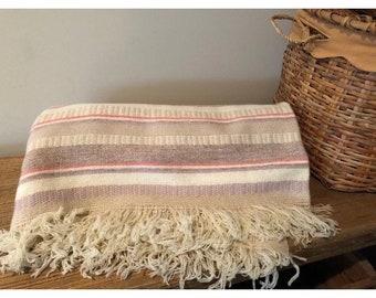 Vintage Pendleton woven wool blanket throw fringe pastels stripes pink beige white lavender