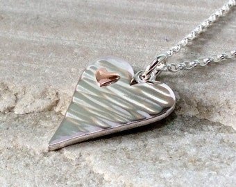 Handmade heart necklace, hammered, sterling silver and copper, anniversary gift for wife, Valentines Day