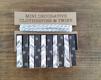 Mini Clothespins with Grey Twine. Shades of Grey Chevron and Black/Grey Polka Dots.  Card Holder. Photo Clothesline. Kids Art Display.