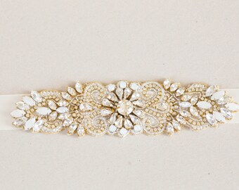 Gold and opal wedding belt, bridal sashes in gold  - Style sash R20 (Ready to ship)