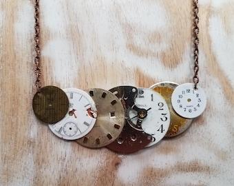 Repurposed Watch Parts Necklace, Vintage Watch Parts Necklace, Steampunk Necklace, Steampunk Jewelry, Watch Face Necklace, Repurposed