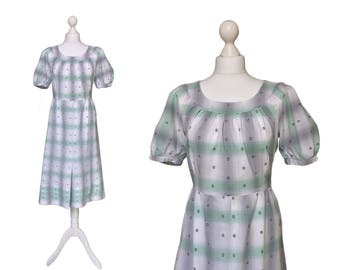 Cotton Dress UK14 | Vintage | Grey And Green Midi Dress | Embroidered Cotton Dress | Garden Party Dress