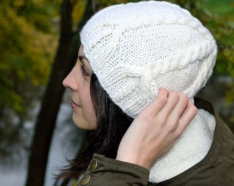 Womens hat Knit hat Winter knit hats Cable knit hat Cable knit beanie Knit hats women Slouch hat Hand knitted hat Gifts for her White hat