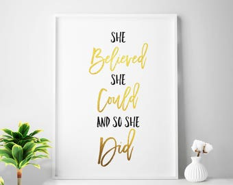 "Small office decor, ""She Believed She Could And So She Did"" office print, gold home office wall art, gold office printable art gold foil art"