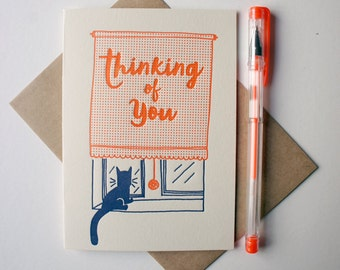 Thinking of You letterpress greeting card