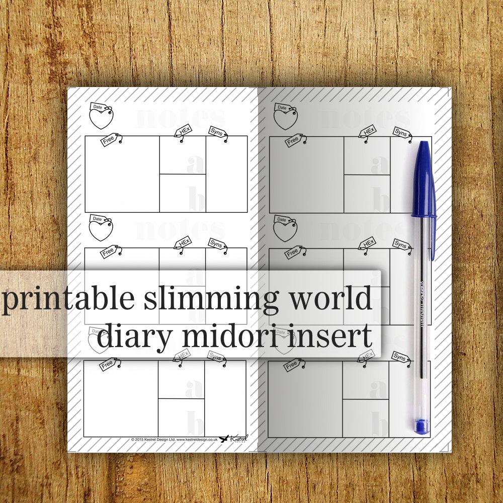 Midori printable insert slimming world food diary Slimming world at home