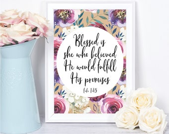 Bible Verse Wall Art,Scripture Wall Art,Christian Wall Art,Blessed is She Who Believed, Luke 1