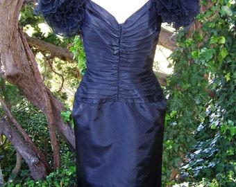 Designer Dress,  Designer Black dress,  Tadashi Dress,  I MAGNIN Dress,  size S
