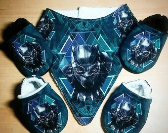 Black Panther Inspired Baby/Kid Booties and Bib