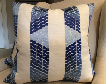 "Brunschwig and Fils Pillow Cover in Blue ""Clouds"" Embroidered Linen"