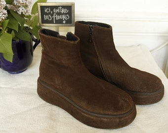 Boots no Name in Nubuck chocolate wedges - size 39 - collector's 90's