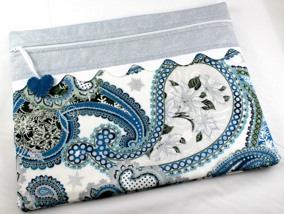 Silver Frost Paisley Cross Stitch Project Bag