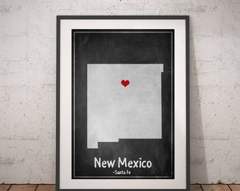 New Mexico Map, New Mexico Print, New Mexico Art, Chalkboard Art, Personalized State Print, Custom State Map