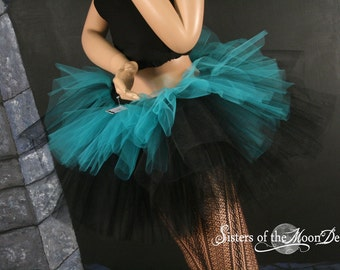 Layered two tone gothic adult dance tutu Black and teal costume petticoat ballet club wear race run - You choose size -- Sisters of the Moon