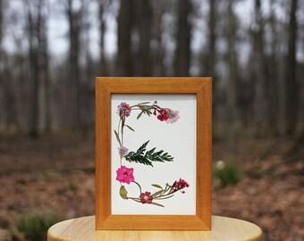5x7 FLOWER MONOGRAM 'E' || Pressed Flowers Home Decor