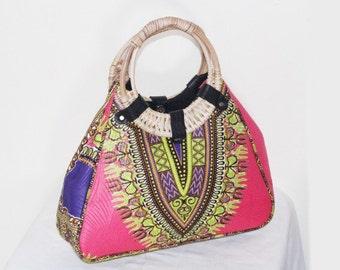 Pink African Dashiki / Angelina print wooden handle hobo bag