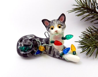 Silver Tabby White Cat Porcelain Christmas Ornament Figurine Lights OOAK
