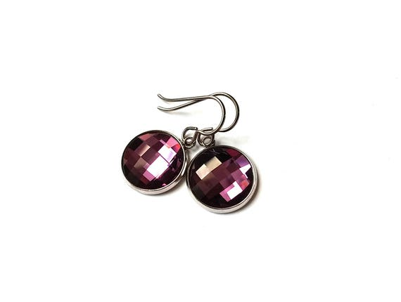 Plum rhinestone faceted dangle earrings - Pure titanium, stainless steel and glass