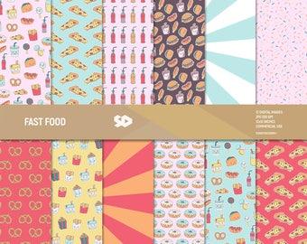 Fast Food digital paper pack. Food scrapbooking pages, kawaii backgroung, pizza scrapbook sheets pattern, burger hotdog soda. Commercia use.