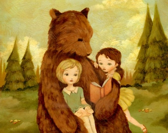 Children's Art - The Story Book Bear Print 5x7 / 6x8 - Book, Reading, Nursery Art, Forest, Cute, Girl, Baby, Story, Sisters, Yellow, Pink