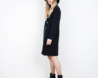 BEAUTIFUL Vintage Black Silk Long Blazer / S / hipster jacket coat womens outerwear overcoat oversized coat
