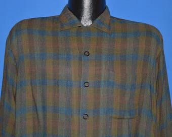 50s Rosenblatts By Donegal Plaid Loop Collar shirt Large