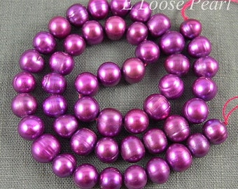 Potato pearl Large hole Freshwater pearls Round pearl loose pearls Potato pearl necklace Violet 7.5-8.5mm Full Strand PL2064