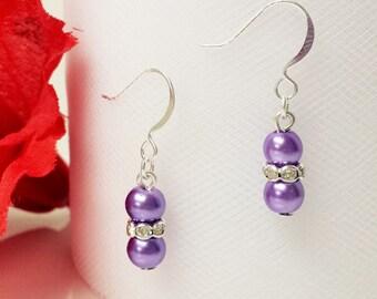 Violet Purple Pearl Earrings - Traditional Bridesmaid Earrings - 6mm Rondelle Rhinestone Flower Girl Earrings