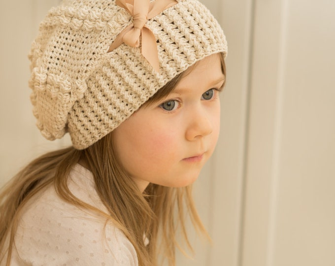 CROCHET PATTERN slouch hat Regina with puff stitches and ribbon bow (baby/ toddler/ child/ adult sizes)