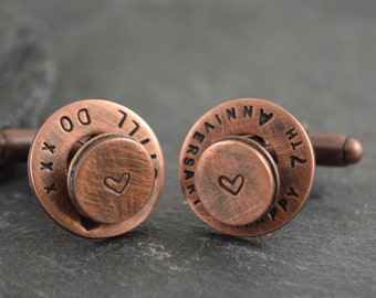 Copper anniversary, Copper gift, Copper, 7th anniversary gift, Copper gift for him, Copper cufflinks, Personalized cufflinks, Pure copper