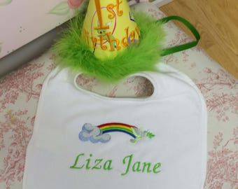 Birthday Hat and Bib Set