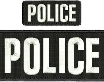 Police Embroidery Patch 10x4 and 5x2 inches Hook backing White letters
