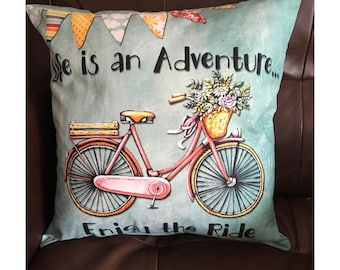 Life is an Adventure Bike Throw Pillow