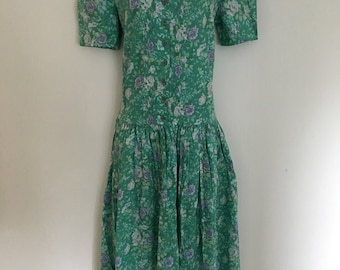 Beautiful green lilac floral vintage drop waist laura ashley dress size 12