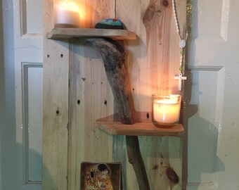 Driftwood embellished shelving, small shelf, shelves, display shelf, wooden shelf, driftwood, bespoke shelf, shop shelf, bedroom shelf