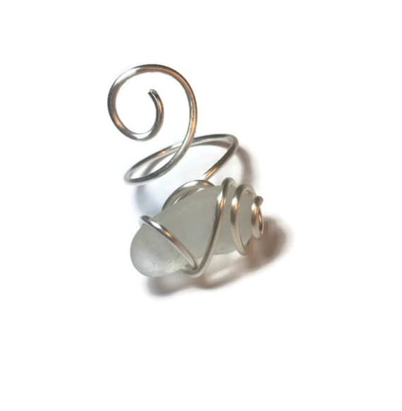 Clear/white cage wrapped sea glass ring-adjustable